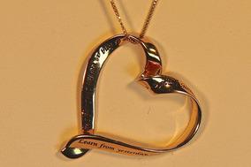 Rsp J2953 Colar Prata 925 Revestido A Ouro Coração Mantra