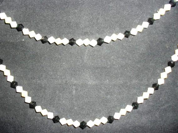 Cordão Bijou - 1.18cm - Duas Voltas- Preta/branco E Marfim