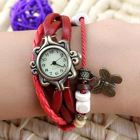 Relógio Com Pulseira E Borboleta Retrô Feminino - Vermelho