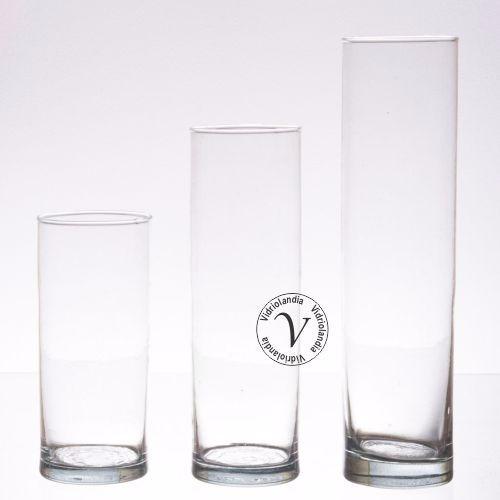 3 Floreros Cilindros De Vidrio Diametro 7cm X10x15x20 De Alt