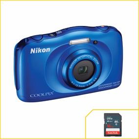 Camera Nikon Coolpix W100 Azul À Prova D