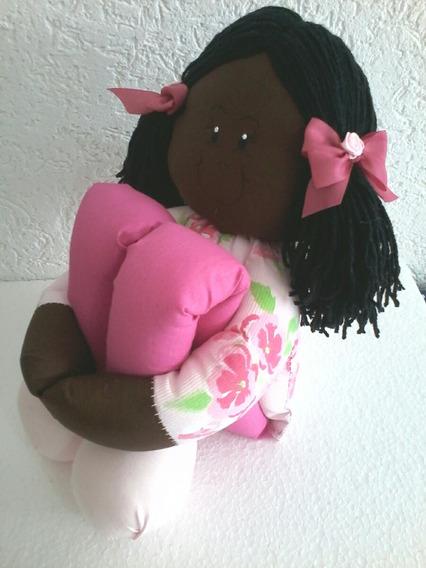Boneca Artesanal De Pano Pernuda Negra Decoração Quarto