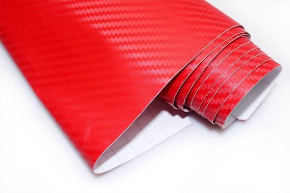 Adesivo Vermelho Fibra De Carbono 7mx50cm