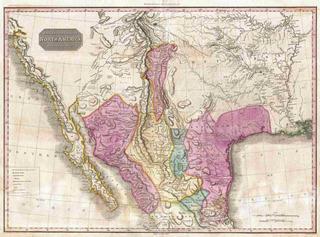 Lienzo Tela Mapa Sur California Texas Lousiana 1818 50 X 68