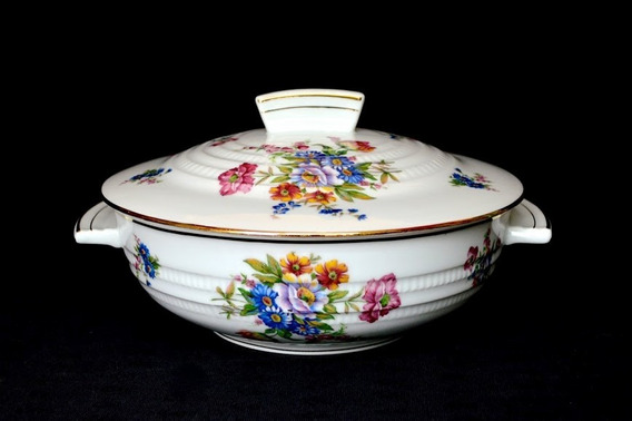 Guisera Porcelana Chapus Freres Limoges France Flores Oro