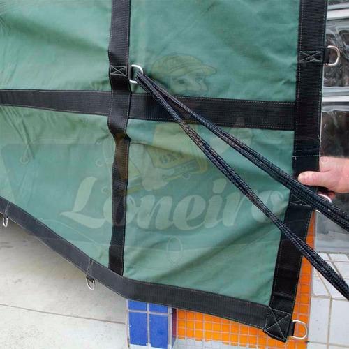 Imagem 1 de 6 de Lona Premium 9,5x5,5 Encerado Argolas Ripstop Verde Caminhão