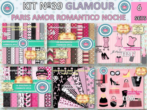 1 Kit Imprimible X 6 Sets Glamour Paris P/ Cotillon Golosina