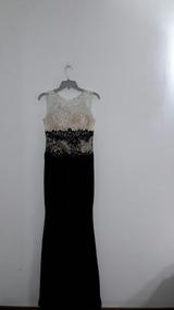 Vestido De Fiesta Largo Talla M Negro Y Blanco