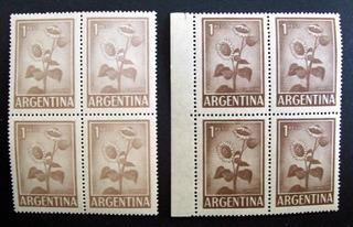 Argentina Lote Cuadros Gj 1129 Girasol 1p Offset Tonos L1999