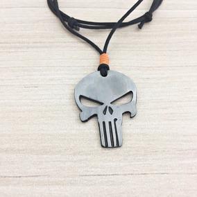Colar Masculino Cordao Gargantilha Caveira Justiceiro Skull