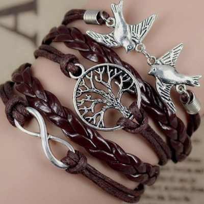Pulseira Bracelete Feminino Couro Infinito Frete Gratis