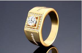 Anel Antialérgicos Folheado A Ouro 18k Anéis Para Homens