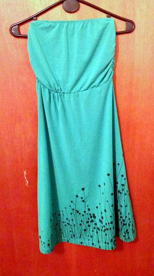 Vestido Strapples De Modal Verde Estampado Talle S/m