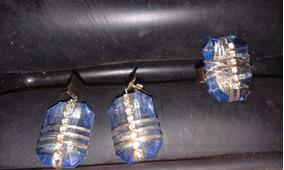 Semi Jóia Pedra Azul (1 Par De Brincos+1 Anel)