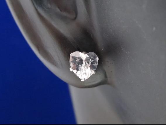 Brinco Feminino Prata 925 Pedra Zirconia Forma De Coração