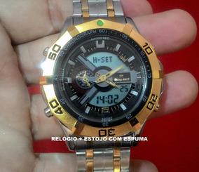 Relógio Masculino Aço Fundo Preto Analogico Digital Md-1201a