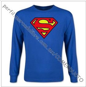 Playera Superman Manga Larga Playera Man Of Steel Talla Xxl