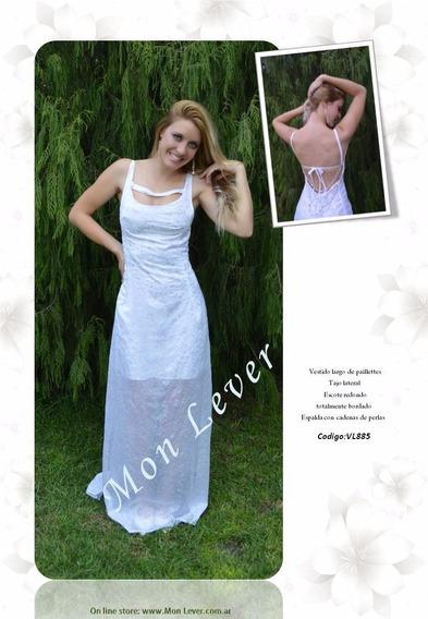 Vestido Largo De Alta Costura Íntegramente Bordado