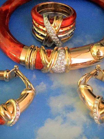 Conjunto Italiano-pulseira-brincos E Anel-ouro 18k-91.8 Gr.