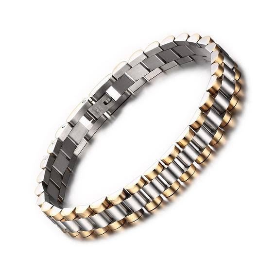 Pulseira Bracelete Aço 316l Banhado A Ouro