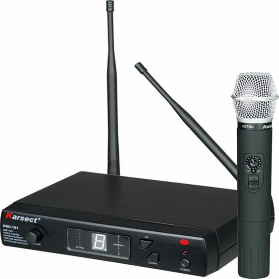 Microfone Sem Fio Karsect Kru161 Uhf Digital 16 Canais, Mão