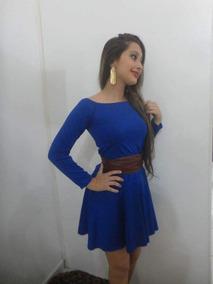 Vestido Azul Ombro A Ombro
