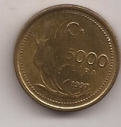 Turquia Moneda De 5000 Lira Año 1997 !!