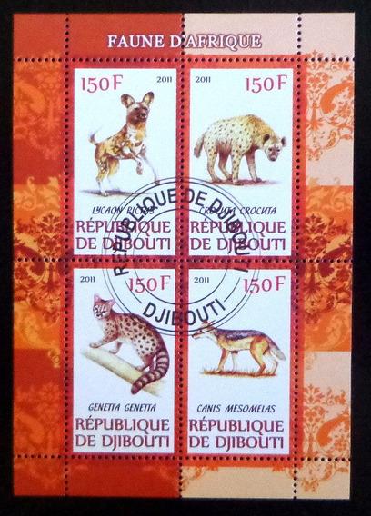 Djibouti Fauna, Bloque 4 Sellos Hienas 2011 Usado L6961