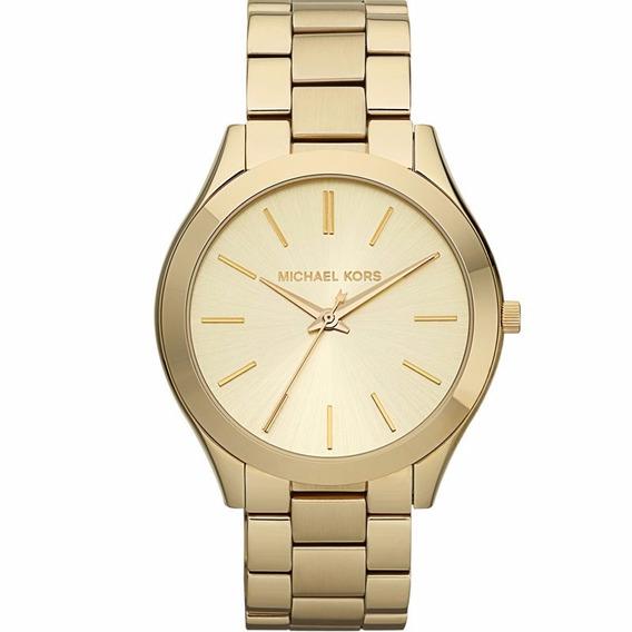Relógio Michael Kors Feminino Runway Slim Omk3179/z Dourado