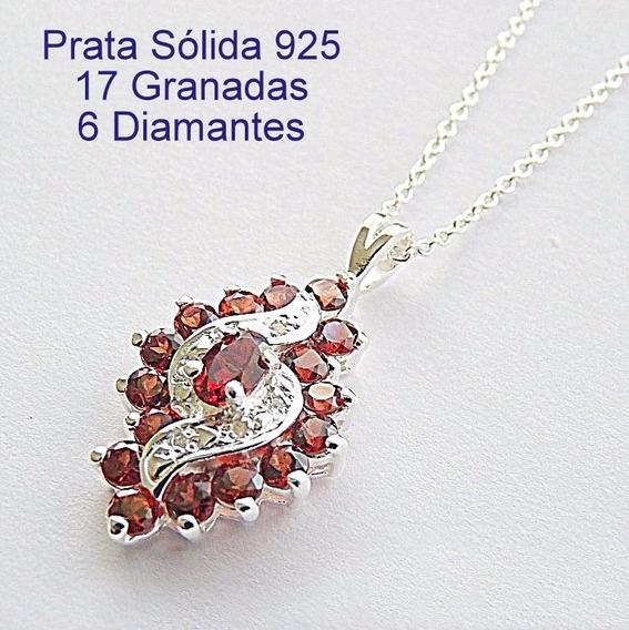 Corrente E Pingente De Prata 925 Com Granada E Diamante 7058