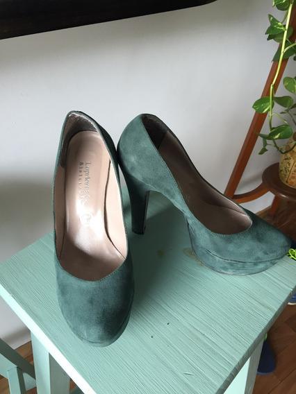 Zapatos De Gamuza Color Aero Talle 38