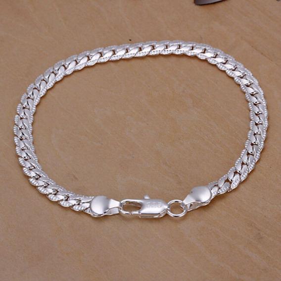 Cordão Masculino Banhada Prata 925 Pulseira 5mm, Bracelete