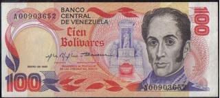 Venezuela 100 Bolivares 29 Ene 1980 Serie A 8 Dig P59