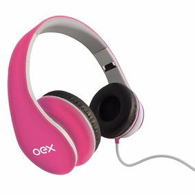 Headphone Sense Dobrável Com Microfone Rosa Hp100 Oex