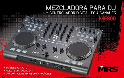 Imagen 1 de 6 de Mrs Me-800 Mixer Pro Y Controlador Usb Avanzado Virtual Dj