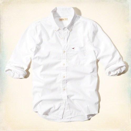 Camisa Hollister Branca Manga Longa Original