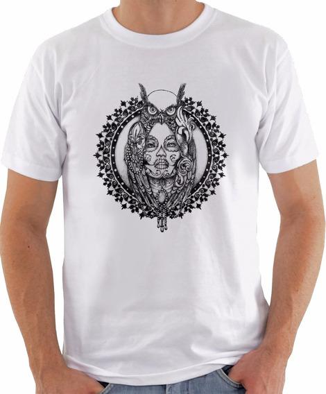 Camiseta Branca Índia E Coruja