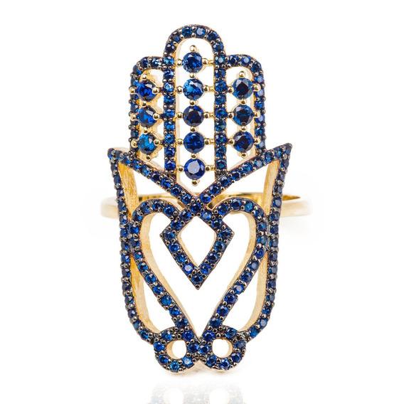 Anel Mão De Fátima Azul Cravejado Mão De Deus Aro 17 Dourado