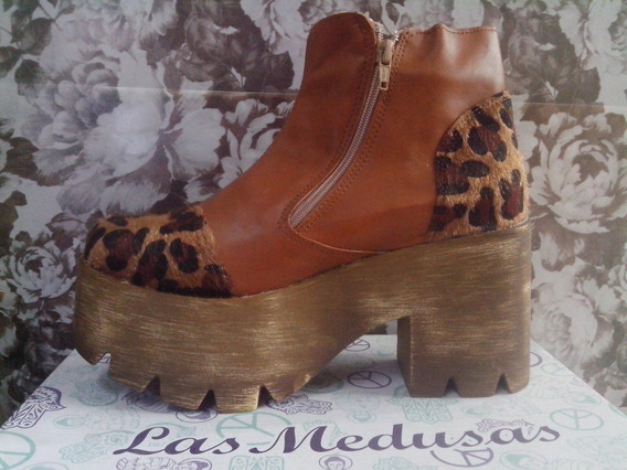 Zapatos Plataforma Mujer Animal Print Con Pelo