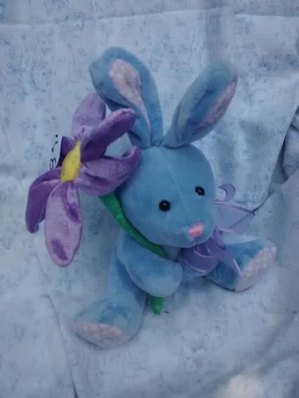 Coelhinho Azul Com Flor Lilas 20x24