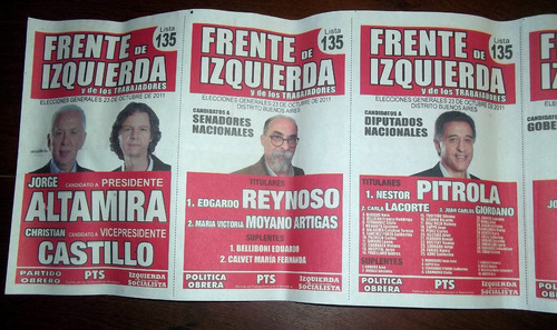 Boleta Elecciones 2011 Frente De Izquierda En La Plata