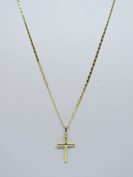 Cordão Masculino Piastrine E Pingente Crucifixo De Ouro 18k