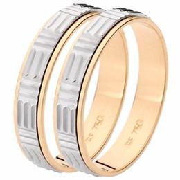 Par Aliança Casamento Trèsor Em Ouro 18k - 2060 Individual