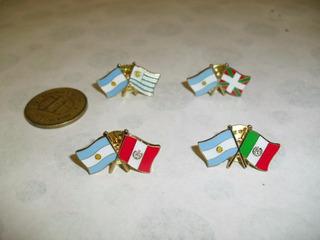 Pin Banderas Cruzadas X2. Argentina Con Brasil Italia España