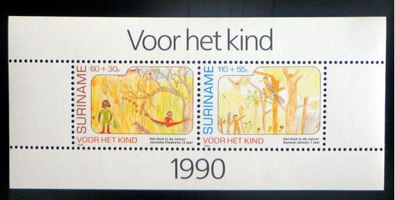 Surinam Infantil, Bloque Sc. B382a Ayuda 1990 Mint L8751