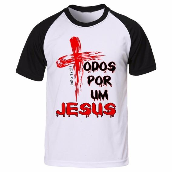 Camisa Camiseta Raglan Gospel Evangélica Todos Por Um