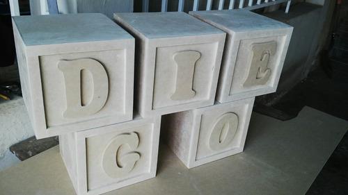 Bellos Cubos Con Sus Letras En Mdf Crudos 20x 20x20