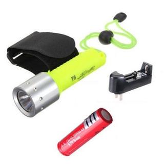 Lanterna A Prova De Água + Carregador E Bateria Diving