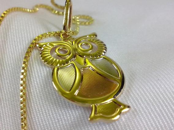 Cordao Folheado Ouro 18k Pingente Coruja Presente Feminino
