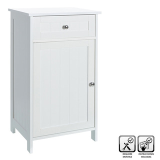 Mueble 1 Puerta Y 1 Cajon De Madera Blanco 43 X 34 X 77